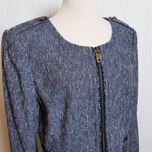 Ann Taylor Blue Tweed Blazer/Jacket
